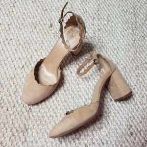 CHLOE Scalloped Ankle Strap D'Orsay Pump nude 38.5